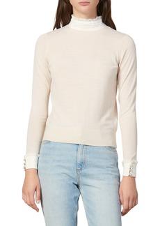 sandro Natti Ruffle Lace Mock Neck Sweater