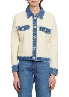sandro Nino Denim Detail Cotton Jacket
