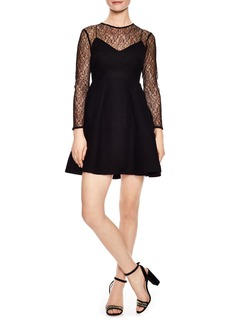 sandro Noir Illusion Lace Mini Dress