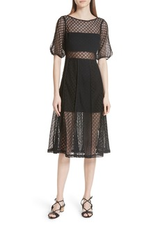 sandro Noir Lace Slit Sleeve Dress
