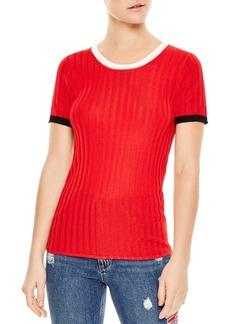 Sandro Nolene Contrast-Color Short Sleeve Sweater