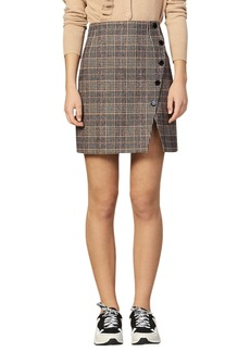 sandro Nona Plaid Side Snap Wool & Cotton Blend Miniskirt