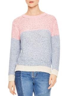 Sandro Obeline Color-Blocked Openwork Sweater