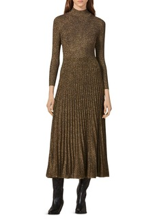 Sandro Orane Metallic Fit-and-Flare Midi Dress