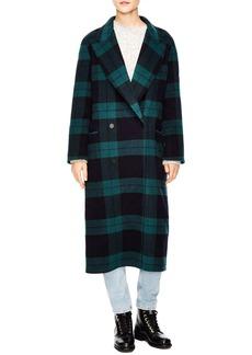 sandro Pense Plaid Wool Blend Coat
