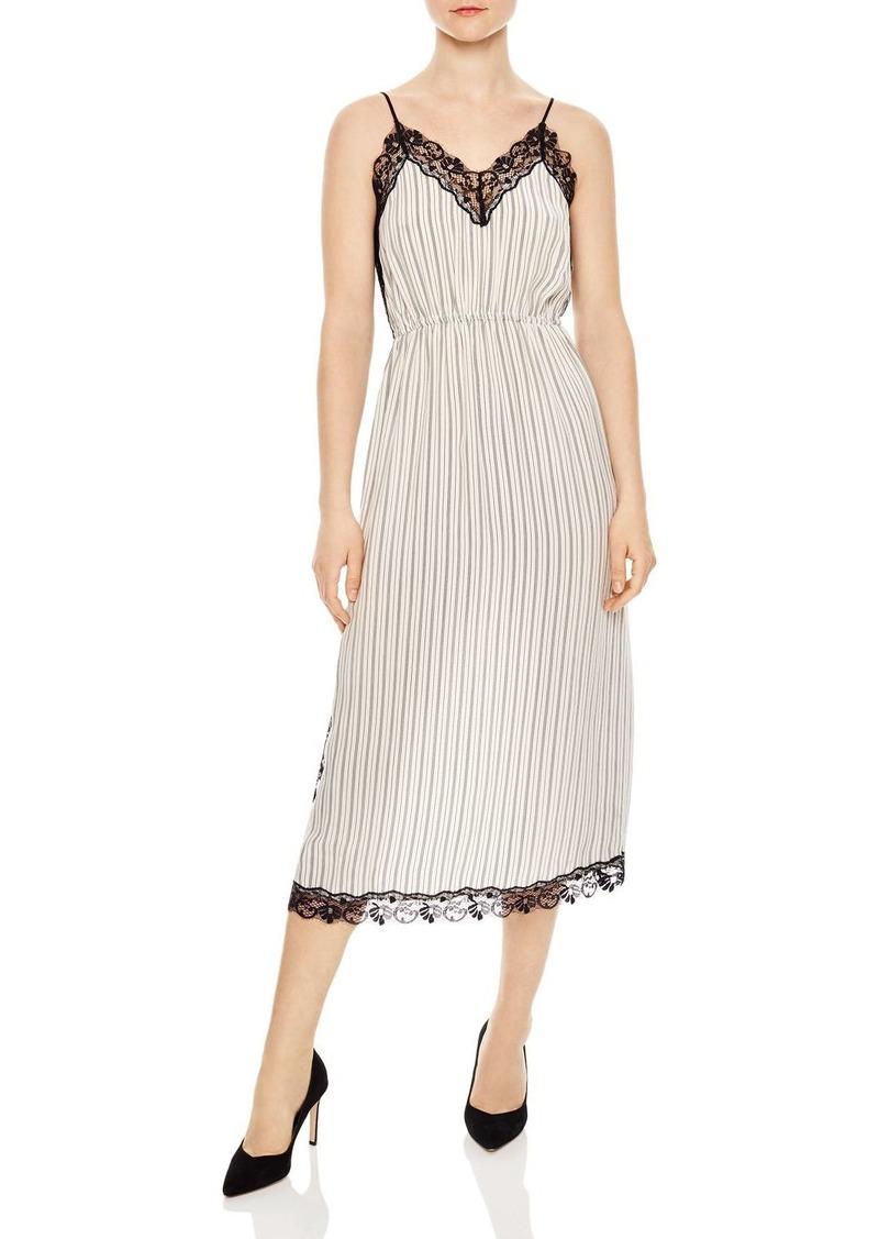 aa6e1ca6c8 Sandro Sandro Pitt Striped Lace-Trimmed Midi Dress