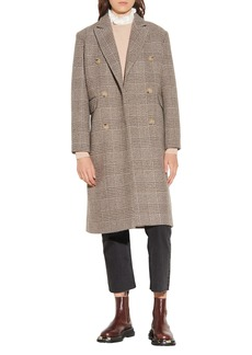 Sandro Plaid Double Breasted Wool Blend Coat