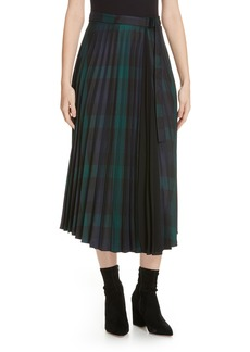 sandro Plaid Pleated Midi Skirt