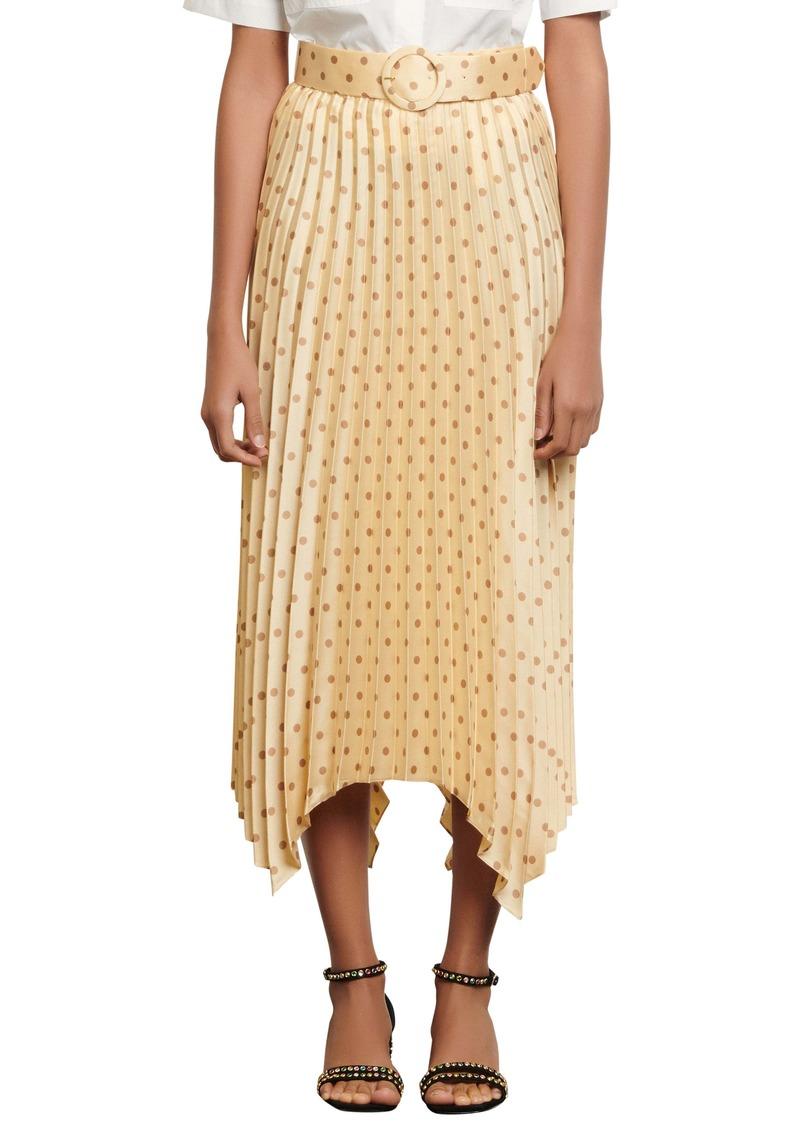sandro Polka Dot Pleat Skirt