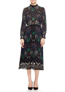 sandro Print Midi Dress