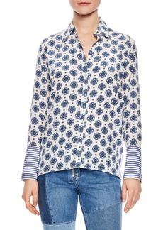 sandro Print Silk Shirt