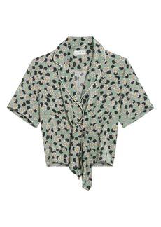sandro Print Tie Front Shirt