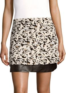 Sandro Printed Leather-Panel Skirt