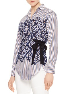 Sandro Rahel Striped Eyelet-Lace Wrap Shirt
