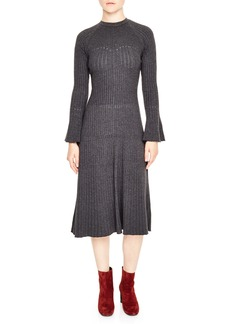 sandro Ribbed Midi Sweater Dress