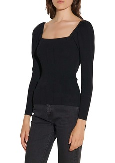 sandro Ribbed Square Neck Sweater