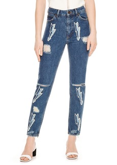 sandro Ripped Lighting Bolt Jeans