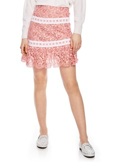 sandro Rose Lace & Eyelet Skirt