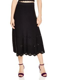 Sandro Rosy Eyelet-Detail Midi Skirt