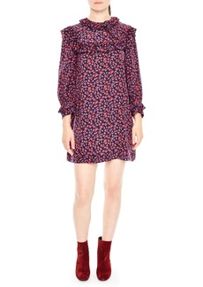 sandro Ruffle Floral Print Silk Shift Dress