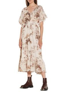 sandro Ruffle Sleeve Print Dress