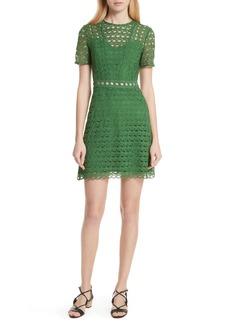 sandro Scalloped Lace Short Sleeve Dress