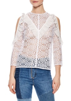 sandro Sheer Lace Cold Shoulder Top