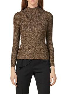 sandro Shinny Mock Neck Sweater