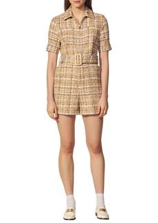 sandro Short Sleeve Cotton Blend Tweed Romper