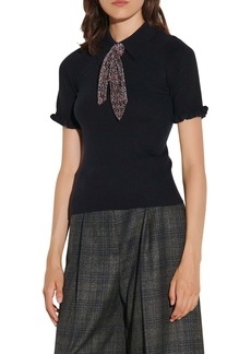 sandro Short Sleeve Tie Sweater