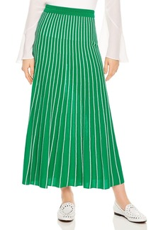 Sandro Shryl Pleated Striped Midi Skirt