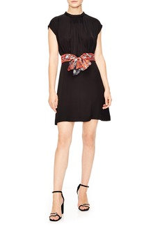 sandro Silk Belt Shirred Neck Minidress