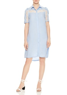 Sandro Slade Lace-Inset Button-Down Shirt Dress