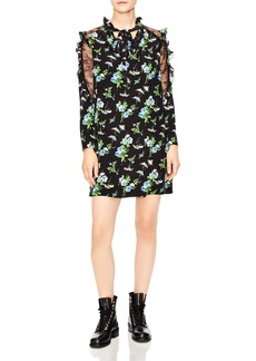 Sandro Spirituelle Lace-Inset Ruffled Floral Dress