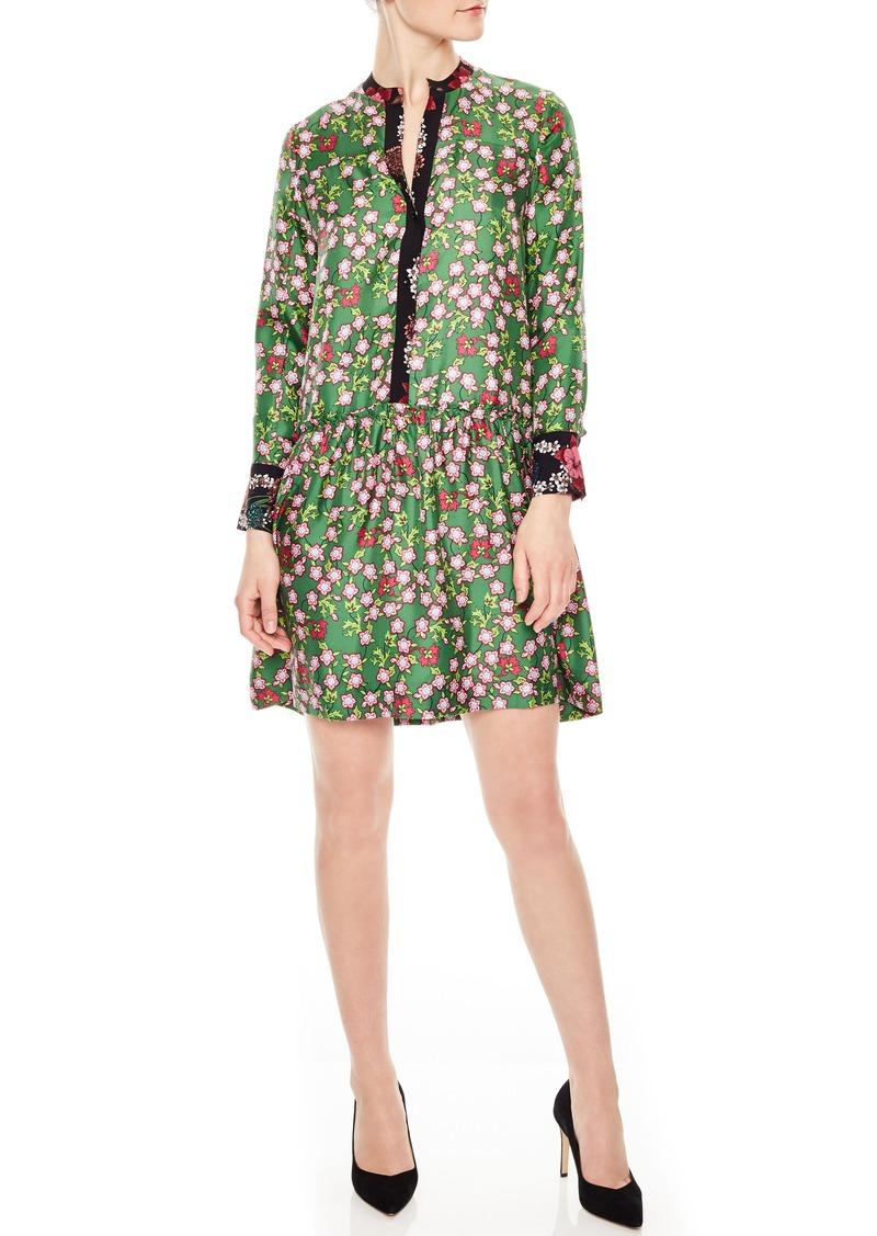 sandro Split Neck Floral Silk Dress