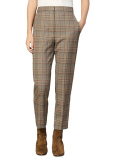 Sandro Stainy Plaid Tapered Ankle-Length Pants