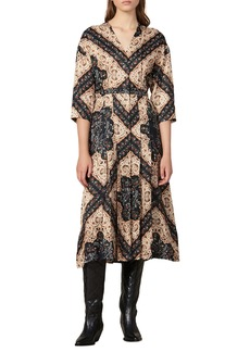 sandro Steva Mix Print Midi Dress