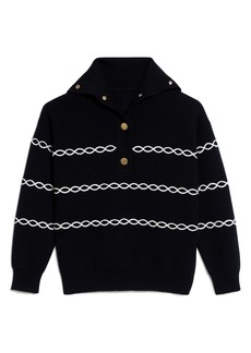 Sandro Stripe Shawl Collar Sweater