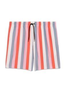 Sandro Striped Drawstring Swim Trunks