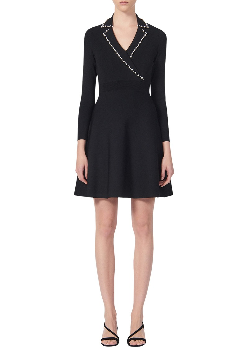 sandro Suity Bead Trim Long Sleeve Sweater Dress