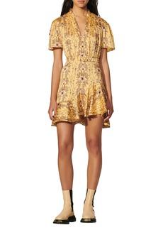 sandro Suzette Floral Frill Neck Dress