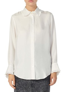 sandro Taina Ruffle Trim Long Sleeve Silk Blouse