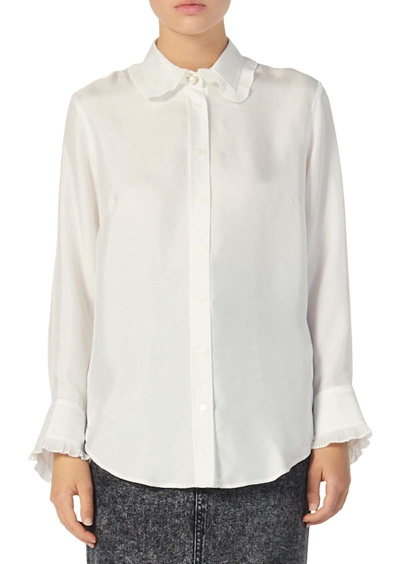 sandro Taina Ruffle Trim Long Sleeve Silk Blouse