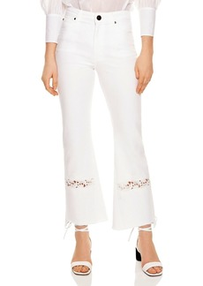 Sandro Telia Appliqu�d Cropped Flared Jeans in White