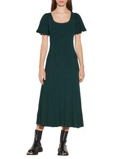 sandro Tie Back Midi Sweater Dress