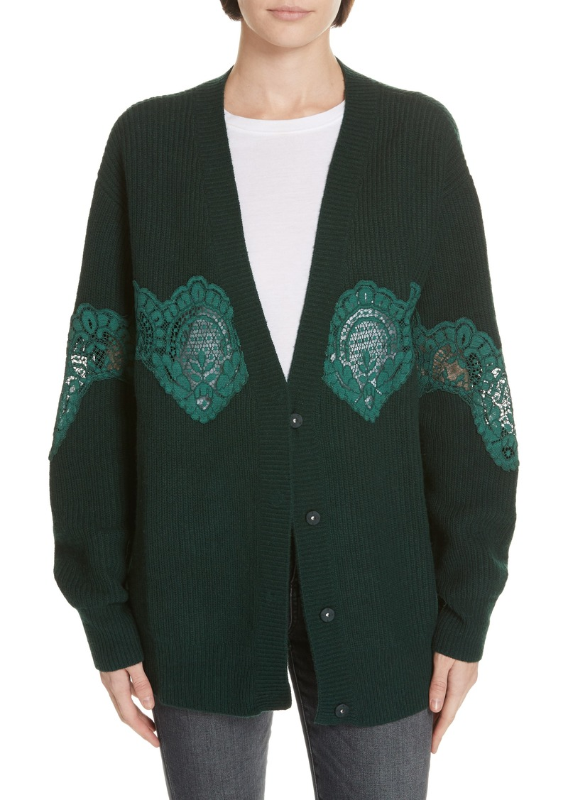 sandro Tower Lace Inset Wool Blend Cardigan