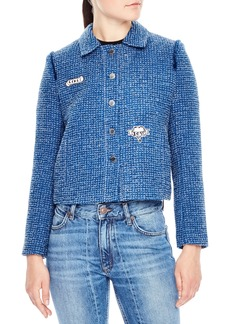 sandro Tweed Crop Jacket