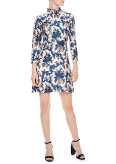 sandro Utopique High Neck Silk Mini Dress