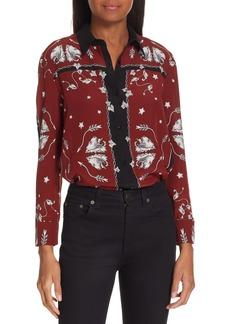 sandro Valentina Illustrated Silk Blouse