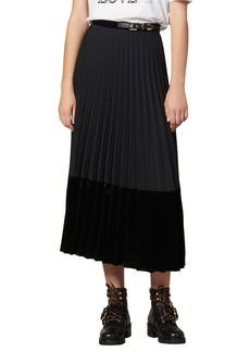 sandro Velna Velvet Detail Pleated Midi Skirt